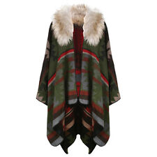 Women's Navaho Print Faux Fur Collar Blanket Wrap Cape - Fall/Winter - Red/Green