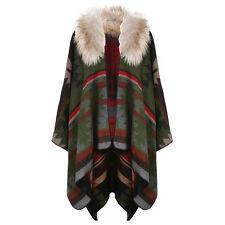 Women's Navaho Print Faux Fur Collar Blanket Wrap Cape - Fall/Winter - Red/Green