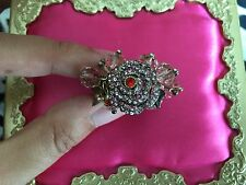 Betsey Johnson Iconic Ombre Rose Pink Crystal Bead Flower Cluster Stretch Ring