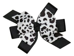 WD2U Girls Farm Girl Dairy Holstein Moo Cow Animal Print Hair Bow Alligator Clip