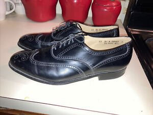 Johnston Murphy Aristocraft Oxford Mens Wing Tip Brogue Black Leather Shoes 12 D