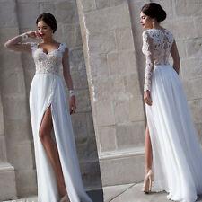 Sexy Sheer Long Sleeve Lace Summer Wedding Dresses Chiffon Beach Bridal Gowns