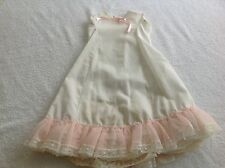Vintage Handmade Doll Dress Off Whie Coton No Sleeves Lace Edges Pink/White Lace