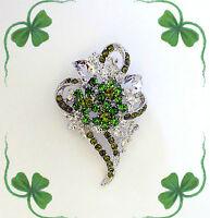 GREEN CRYSTAL SHAMROCK 3 LEAF CLOVER FLOWER BROOCH PIN~ST PATRICKS DAY GIFT