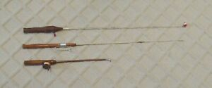 Lot of 3 Unusual Older Ice Fishing/Jigging Rods - Very Good Condition