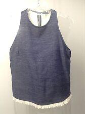 DREW Anthropologie NEW Chambray Knit Sleeveless Fringe Hem Top Shirt $166