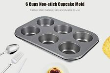 6 Cup Stainless Steel Non-stick Muffin Cupcake Pan Tray Mould