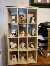 12 grid wooden wall shelf or free standing display with mirror back