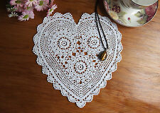 Fine Yarn Hand Crochet Heart Shape 3D Flower Cotton Doily Doilies 23x25CM White