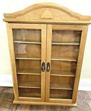 Wall Curio Cabinet Display Case Shelf Glass Doors Oak Vintage