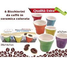 Set 6 Bicchieri Bicchierini Caffè Colorate Color Pastello Ceramica 7x7cm moc