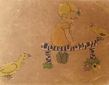 Antique gouache painting illustration girl portrait duck and bird