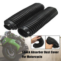 Pair Black Motorcycle Fork Rubber Gaiters Boots Gaitor For CQR 245x58x39mm