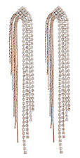 Clip On Earrings - rose gold plated with crystals & sparkling strands - Britt RG