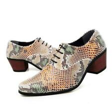 Men's Pointed Toe Snakeskin Print Leather Dress Formal Lace Up Cuban Heels Shoes