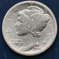 USA 1916 Mercury Dime Philadelphia 10 Cent Silber Selten Gute Erhaltung #10091