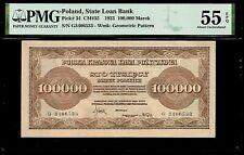 Poland 100,000 Marek 1923 PMG 55 EPQ  AU  P#34 Polska Krajowa Kasa Pozyczkowa