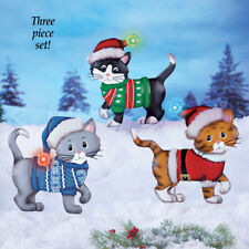 Set of 3 Festive Dressed Kitty Cat w/ Lighted Caps Outdoor Christmas Stakes