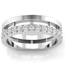 0.39ct Certified Diamond Wedding Mens Rings 14K White Gold I-J/SI1 Size V