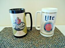 Vintage Lot Of 2 Thermo-Serv Plastic Beer Mugs,1,Strohs,1,Miller Lite