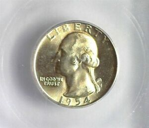 1954 WASHINGTON SILVER 25 CENTS ICG MS 66+ LISTS FOR $60!!