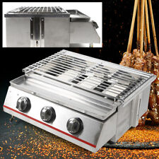 3 Burners Commercial Gas Grill Outdoor BBQ Tabletop Cooker Stainless Steel