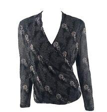 Anne Klein Silk Top Size Large Gray Floral Silk Surplice V Neck Shirt Womens