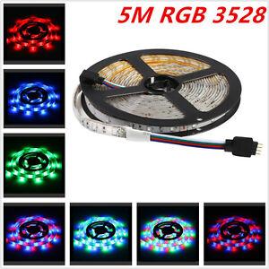 Car 5M 300 LED 3528 SMD RGB Colorful Flexible IP68 Waterproof Strip Light Lamp