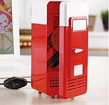 Mini Red USB Fridge Cooler Beverage Drink Cans Cooler/Warmer Refrigerator
