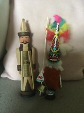 2 Great Wooden Dolls South Pacific Native In Costume & A Wooden Oriental Figure