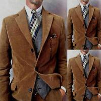 Men Khaki Corduroy Two Pieces Suits Vintage Formal Sport Blazer Pant 3 Button