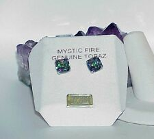 10K Square Mystic Topaz Stud Earrings Yellow Gold Nice! New W/Tag!