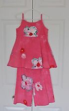 EUC! Cape Town Designer Balu Hand Painted Shirt and Pants Set Pink Floral Size 4