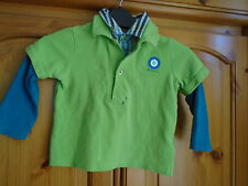 1 Boys lime green, blue long sleeve 2 layer top, BEN SHERMAN, 12-18 months