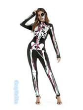 Skeleton Womens Gothic Bone Printed Halloween Costume Lycra Jumpsuit