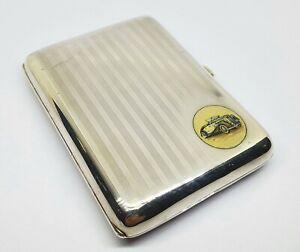Antique Sterling Silver Car Enameled Cigarette Case
