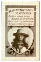 Antique RPPC postcard Birthday card Greetings to my sister pretty lady portrait