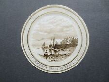 Antique CHRISTMAS Card  Circular Harbour Scene Fisherman Victorian Chromo Litho