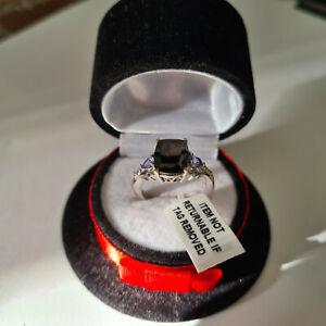Elite Shungite, Tanzanite & Zircon Ring in platinum over Silver 'L'
