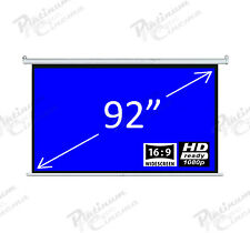 "New 92"" Electric Motorized  HD Projection Screen Widescreen 16:9  Matt Grey"
