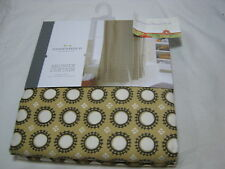 New Threshold Fabric Shower Curtain Yellow Circle 72x72 ~ Gold/Chocolate NIP