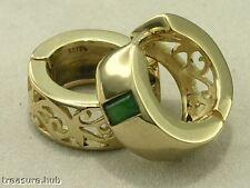 E005- SOLID 9ct 9K Gold NATURAL Emerald Filigree HUGGIES Hoop Earrings