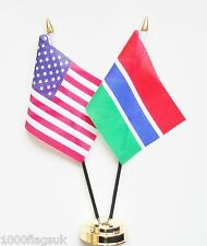 United States of America & Gambia Double Friendship Table Flags