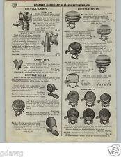 1922 PAPER AD Bicyle Bells Search Light Gas Headlight 20th Century Delta Solar