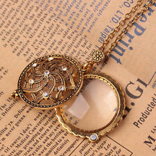 Vintage Gold Chain Women Magnifying Glass Flower Design Pendant Necklace FQB