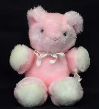 "Eden Pink Teddy Bear 7"" Plush Rattle Stuffed Animal Baby Toy Lovey Vintage 1980s"