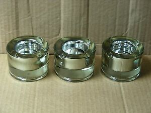 (SET OF 3) HEAVY SMOKED GLASS VOTIVE CANDLE HOLDERS