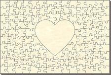 Blanko Holz-Puzzle Rechteck mit Herz, 121 Teile, 60x40 cm, zum Selbst Bemalen