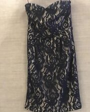 MATTHEW WILLIAMSON Evening Dress-Navy & Silver Strapless Dress Size UK8-10 VGC