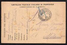 CARTOLINA Militare in franchigia 1916 da 1° CA a Milano (FILm)